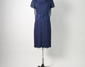 Vintage 1950s 50s Cocktail Dress by Rembrandt with Sheer Silk Chiffon Floral Overlay