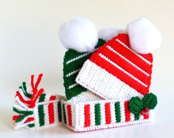 Plastic Canvas Coasters Mug Rugs Winter Hat Coasters Christmas Coasters Drink Coasters Christmas Decor Winter Decor Table Bar Coasters