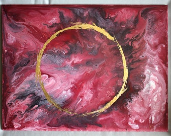 Original Fluid Art with Gold Leaf - Calm Circle -