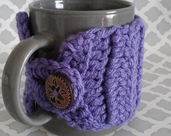 Mug cozy, cozies, cup cozy, crochet handmade in purple