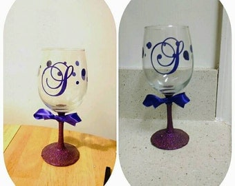 Custom Monogram Vinyl Wine Glass Decals Bridal Party From - Wine glass custom vinyl stickers
