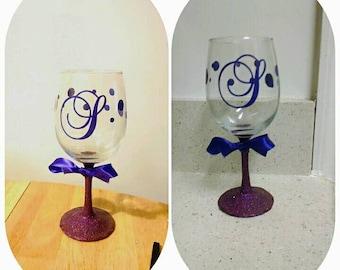 Custom Monogram Vinyl Wine Glass Decals Bridal Party From - Wine glass custom vinyl stickers