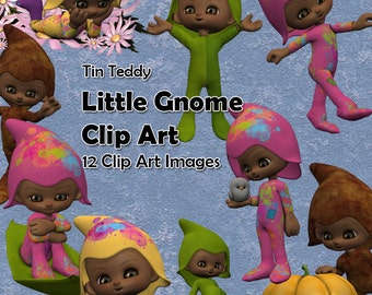Little Gnomes Clip Art - 12 digital images of Cute Gnomes for Crafting, Scrapbooks, Card Making etc
