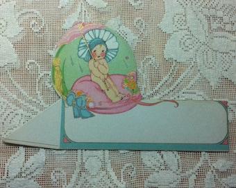 Art Deco, beautiful baby with umbrella ,1920s diecut , placeholder ,Early Hallmark ,Rare