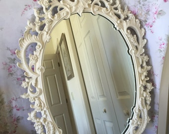"Vintage Stunning Oval Baroque Antique Wall Mirror - Syroco Resin - ""Rare"" - XL - 20 x 29 Wedding Nursery Foyer"