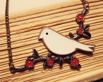 Bronze and White Bird Pendant