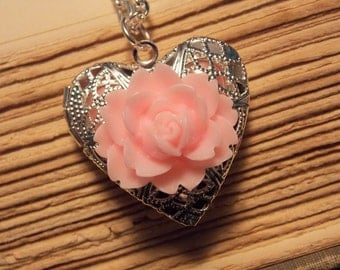 Pink and Silver Rose Locket