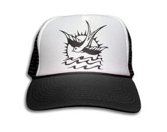 Trucker Cap - Sparrow Tattoo Trucker Hat - Snapback Mesh Cap - Retro, Tattoo, Old School, Pirate