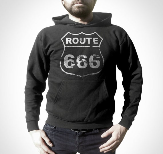 hoodie shirt route 666 retro hoodies f r m nner frauen. Black Bedroom Furniture Sets. Home Design Ideas