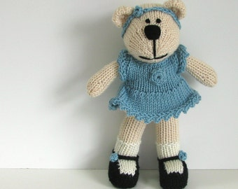 Hand Knit Bear Stuffed Toy - Children Knitted Toy Kids - Children Toy - Stuffed Animal Plush Doll - Small Toy Stuff Teddy Bear Anna
