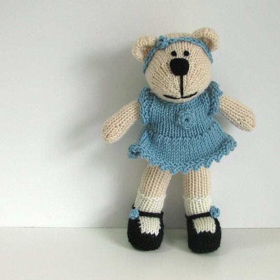 Hand Knit Bear Stuffed Toy - Children Knitted Toy Kids - Children Toy - Stuffed Animal Plush Doll - Small Toy Stuff Teddy Bear Anna