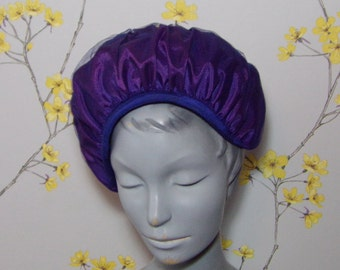 Vintage 60s Purple and Blue Ruffle Hat Vintage Frilly Hat Netted Hat