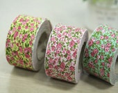 3.5 cm Cotton Bias by the roll - Pretty Mini Rose - 3 Colors - 10 Yards 81923