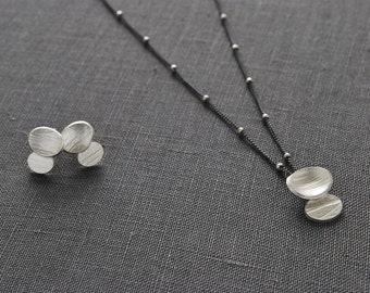 Contemporary Jewelry Set// Silver Pendant and Earrings//Organic Oval Discs//Beach Pebble Series