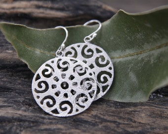 Beautiful Filigree Swirl Brass Earrings with Sterling Silver Ear Hooks / Platinum