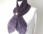 Purple bow scarf, aubergine scarf, butterfly scarf, knit purple scarf, knit eyelet scarf, Scarf with button, uk scarves, knit neckwarmer