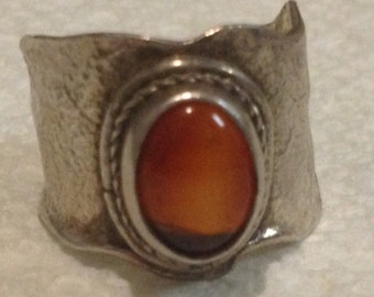 Sale - Hand Made Fine Grade Silver & Burnt Orange Stone Ring Marked .950