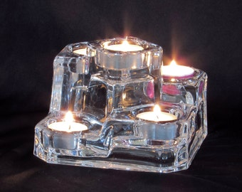 Thick Glass Ice Sculpture - Candle Holder - Centerpiece - Vintage Home Decor