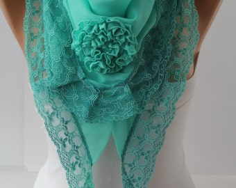 Mint Special Rose Scarf Victorian Shawl Scarf Rose Lace Scarf Spring Summer Scarf gift for her Fashion Women Accessories For Her