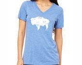 Bison Shirt. Wyoming Shirt. Buffalo Shirt. Women's Clothing. Women's Shirt.