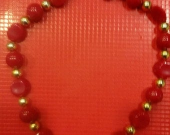 80s Red and Gold Bead Necklace