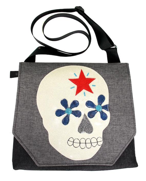 Sugar skull, star, grey, glitter vinyl, satchel, messenger bag, Dia de los Muertos