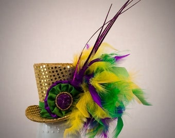 Mardi Gras Mini Top Hat, Burlesque hat, Bachelorette hat, Steampunk hat, Fascinator, Alice in Wonderland hat,Mad Hatter hat,Derby hat