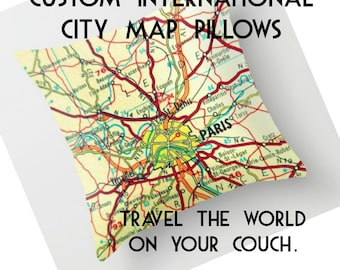 Custom World Map Pillow Covers, Personalized Pillow, Custom World Map Pillows, Travel Gift International City Throw Pillow City Map Cushion