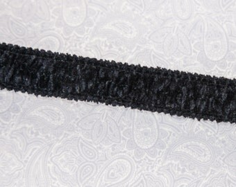 "2 3/4 Yards of Vintage 3/4"" Beautiful Stretch Ribbon Trim in Black Chenille. Sewing. Crafts. High Quality Stretch Trim. Item 3866T"