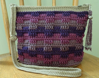 Crochet Crossbody Bag Purse Tan Purple Magenta Mauve Lined Zipper Closure Pockets Silver Tone Hardware Tassel