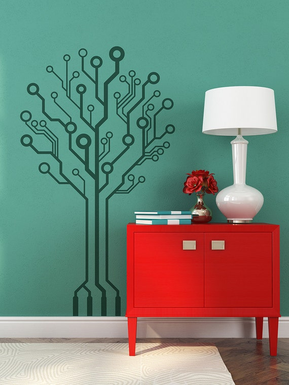 Circuit-Tree Ver 2.0 circuitry Geeks love nature too, Removable wall art computer wall art programmers computer geek gamers wall sticker