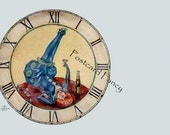 FUN Art Deco Girl with champagne inside a clock face, INSTANT Digital Download