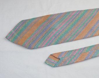 Vintage Men's Tie, Pink Orange Blue Green Stripes