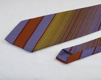 Vintage Wembley Men's Wide Tie, Purple Yellow and Orange Stripes