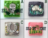 Mini brooch - hand sewn brooches - owl - fish - rabbit - horseshoe - gift idea - gifts for teenagers