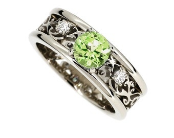 Wide Peridot and diamond filigree engagement ring, filigree ring, Peridot wedding, unique, diamond ring, white gold, green engagement