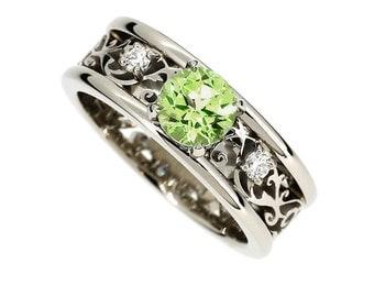 Wide Peridot and diamond filigree engagement ring, filigree ring, Peridot wedding, unique, diamond ring, white gold, green engagement
