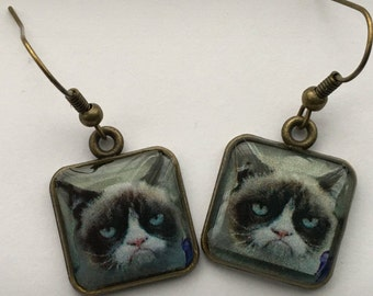Grumpy Cat Earrings 3D Picture Dimensional  Bronze Square