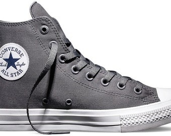 Gray Converse High Top Chuck Taylor II Monochrome Grey Thunder Silver Mens Canvas w/ Swarovski Crystal Rhinestone All Star Sneakers Shoes