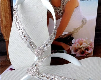 Custom Wedding Flip Flops Glass Slippers Blushing Bride Lotus w/ Swarovski Crystal Rhinestone Bead Beach Havaianas Cariris Wedge heel Shoe