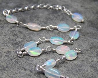 Delicate fire opal bracelet, Ethiopian opal gemstone jewelry, October birthstone jewelry