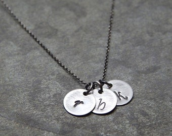 Best friends jewelry, Initial jewelry for moms, bff necklace, three silver initials necklace, three best friends initial letter necklace
