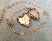 RESERVED Vintage Silver Heart Locket with Initial L, Sterling and Aquamarine Chain, Wedding Locket, Gift for Her