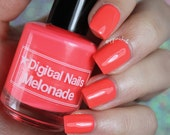 Melonade: Neon Watermelon creme from the Summer 2016 Creme a la Mode box by Digital Nails
