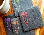 Wildflower Slate Coasters (Set of 4) Wine Night, Birthday, Anniversary