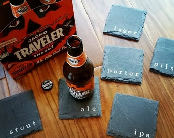 6 Beer Slate Coasters - Man Cave, Garage, Fathers Day, Slate, beer drinker, dad, boyfriend, husband