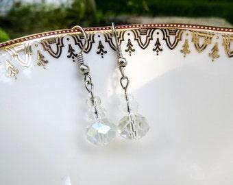 Crystal-cut Clear Glass Drop Earrings