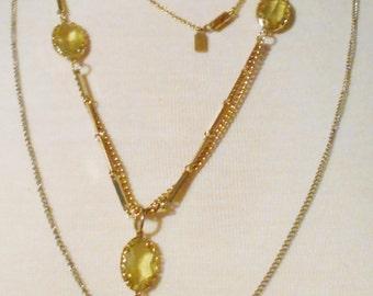 Vintage necklaces chains 1970s Estate Sale Lot of 4 pieces of preppy retro jewelry