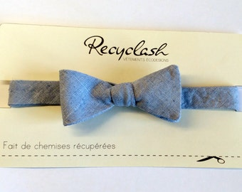 Bow tie in blue canvas,waxed effect (to tie by yourself)