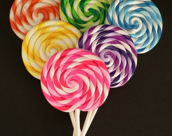 MEDIUM Big Carnival Candy Shoppe Clay Fake Swirl Lollipop Decoration Photo Prop